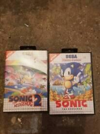 2 x sonic Sega master system games