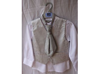 Boy's 3-piece wedding outfit, white shirt, silver waistcoat and tie, age 3-4