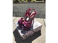 Ladies fushia high heel sandals