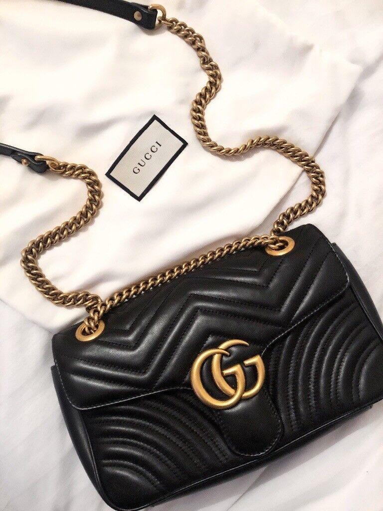 d7857e4bbae Gucci Marmont medium handbag in black leather