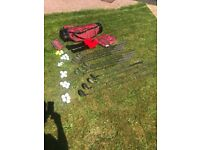 Full set of Mitsushiba golf clubs, with bag, waterproofs, tees and balls. Two covers