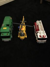 Fire engine, helicopter, dustbin truck toy