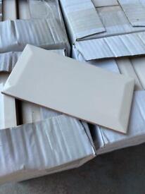 9m² Cream Gloss Bevelled Ceramic Tile 7.5x15