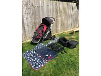 Baby Jogger City Select double buggy plus extras.