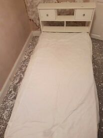 White solid pine single bed
