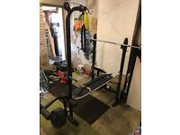 Domyo's home gym/weight bench, bar and weights
