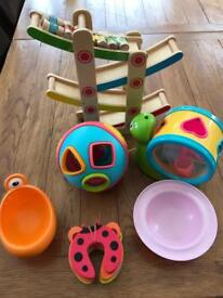 Assorted toys and household items for young children