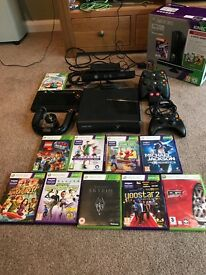 XBOX 360 S 250GB with Kinect camera, games, 3 handsets, racing handset and more 139 ono