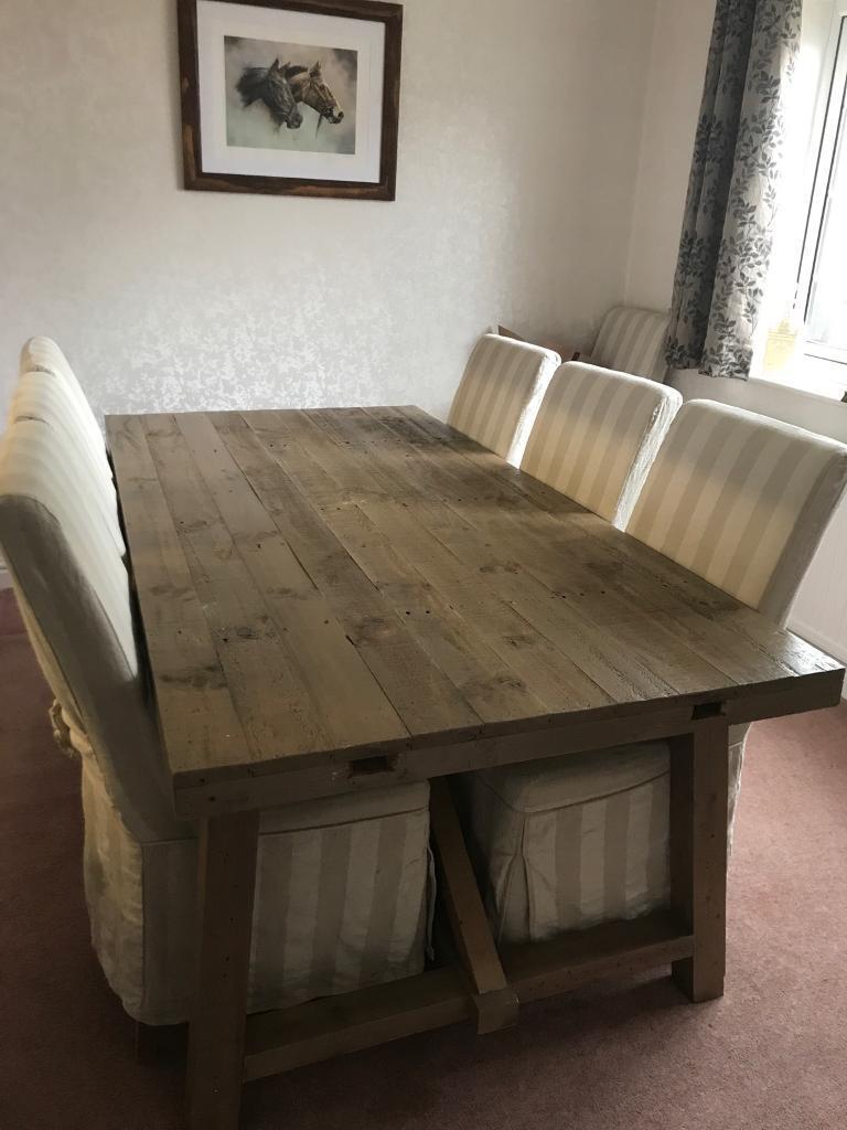 Astonishing Sold Large Rustic Dining Room Table And Chairs In Royal Wootton Bassett Wiltshire Gumtree Inzonedesignstudio Interior Chair Design Inzonedesignstudiocom