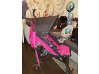 Girls chicco stroller pushchair pram pink with raincover