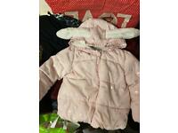 Gorgeous warm girls coat 12/18 months good clean condition with gold hearts on