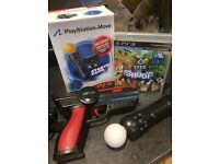 Playstation 3 move controller set with gun holder for controller and PS3 Shoot game