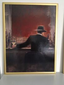 A pair of pictures in brass frames 62cm x 82cm excellent condition