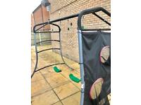 Plum double swings set with 2x ball target nets excellent condition