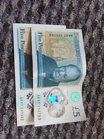 For sale 2 x AK47 £5 notes
