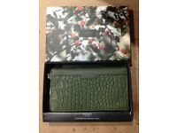 Osprey of London; Women's leather Crocodile pattern purse in dark green, brand new and boxed