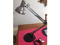 Chrome office or home desk lamp, large and quite heavy