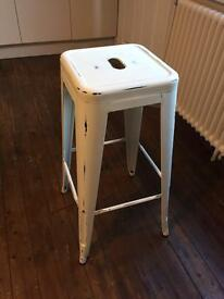 Cream metal stool