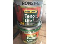 £5 Ronseal One Coat Fence Life. One new tub. One half tub