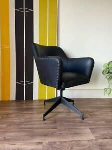 Vintage Mid Century Retro Swivel Armchair, Industrial Desk Chair