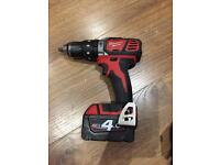 Milwaukee 18v cordless drill with 1x4.0ah battery