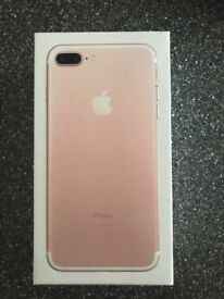 Boxed Rose gold 32gb I phone 7+ plus