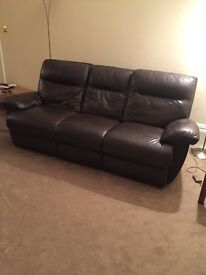 Brown leather reclining sofa set for sale in very good condition