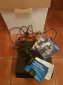 PS4 1TB + 2 GAMES - UNCHARTED 4 + FARCRY PRIMAL (BOXED + SONY WARRANTY REGISTERED, MINT CONDITION)