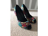 Multi coloured peep toe shoes - Size 4