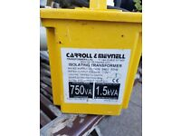 Carroll & Meynell 750VA CM15002 Single Phase Portable Isolation Transformer, 230V ac, 6A and cable
