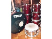 7 piece Yamaha Stage Custom Drum kit with hard cases, rack and cymbals