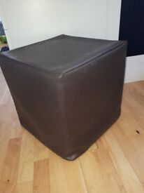 Brown Faux Leather Foot Stool