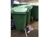 Six green standard size 240ltr wheelie bin wheely dustbin for sale can deliver.