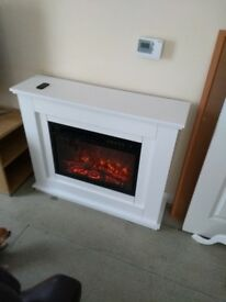 Very nice coal effect fireplace in white