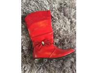 Stunning kids red boots shoes size 2 as new
