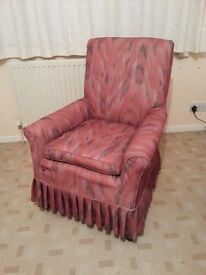 Fully-upholstered Armchair, small size, professionally rebuilt, and ready for choice of top cover.
