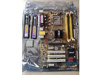 asus motherboard + c2d 6600 + Corsair 2gb DDR2 Xms2