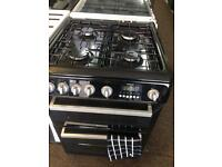 Black Hotpoint 60cm gas cooker grill & double oven good condition with guarantee