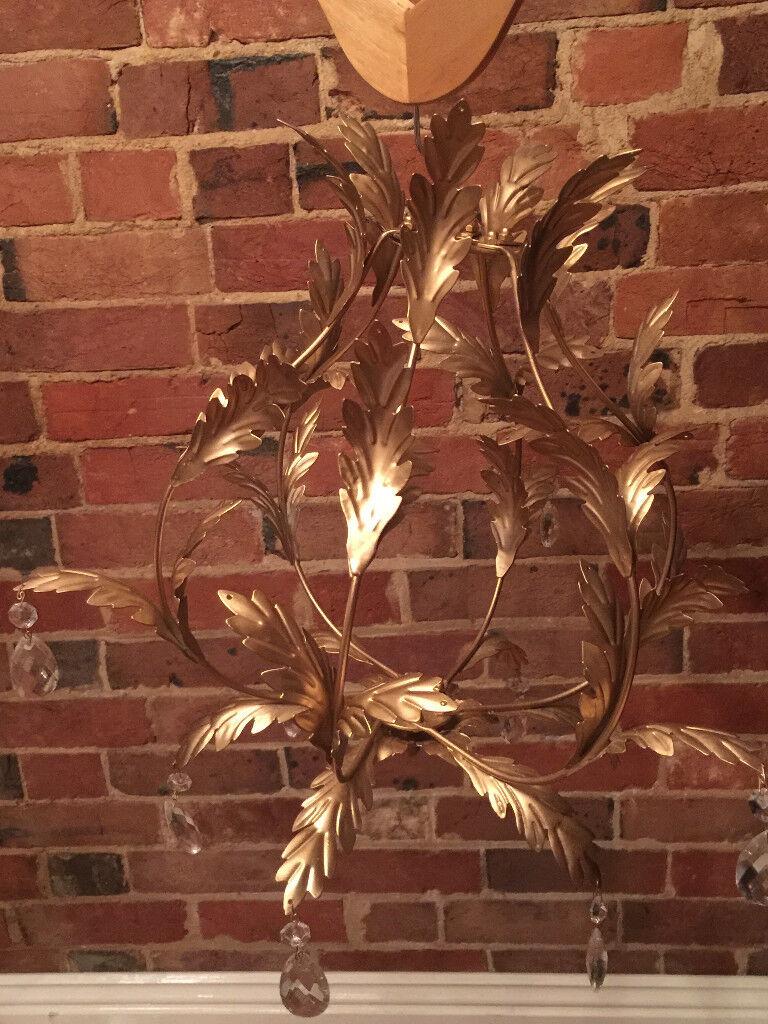 Stunning Gold Leaf Metalwork Chandelier with pendants