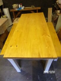 rustic pine table + benches