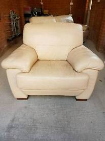 Cream leather 3 seater sofa & chair