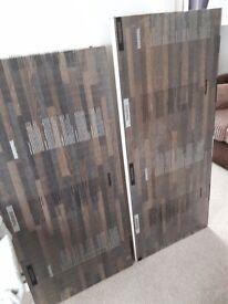 Duropal laminate worktop off cuts x 2. Harvard Oak - 130cm & 140cm long, 60cm wide and 4cm thick.