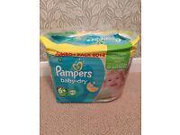 BNIB Pampers Baby Dry, size 6+, 64 pack, Jumbo Pack