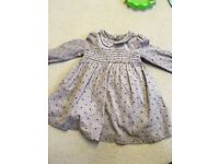 6-9minths M&S girls dress mushroom with red spots dress worn once