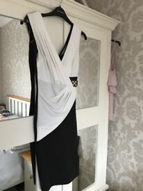 Lipsy black and cream evening dress size 8