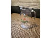 Large glass Carlsberg jug