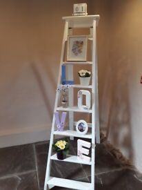 Wedding decoration, Vintage white wooden step ladder