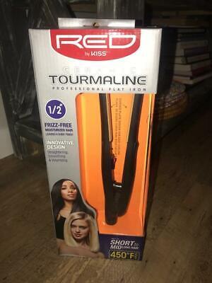 Red by Kiss Ceramic Tourmaline Professional Flat Iron, 1/2 I