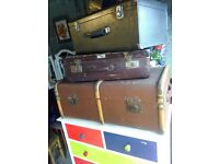 vintage trunk and old hard body suitcases