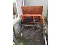 Rabbit or guinea pig hutch, enclosure and accessories.